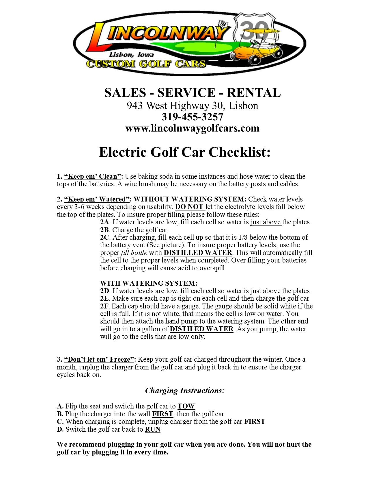 Golf Car Charging Instructions