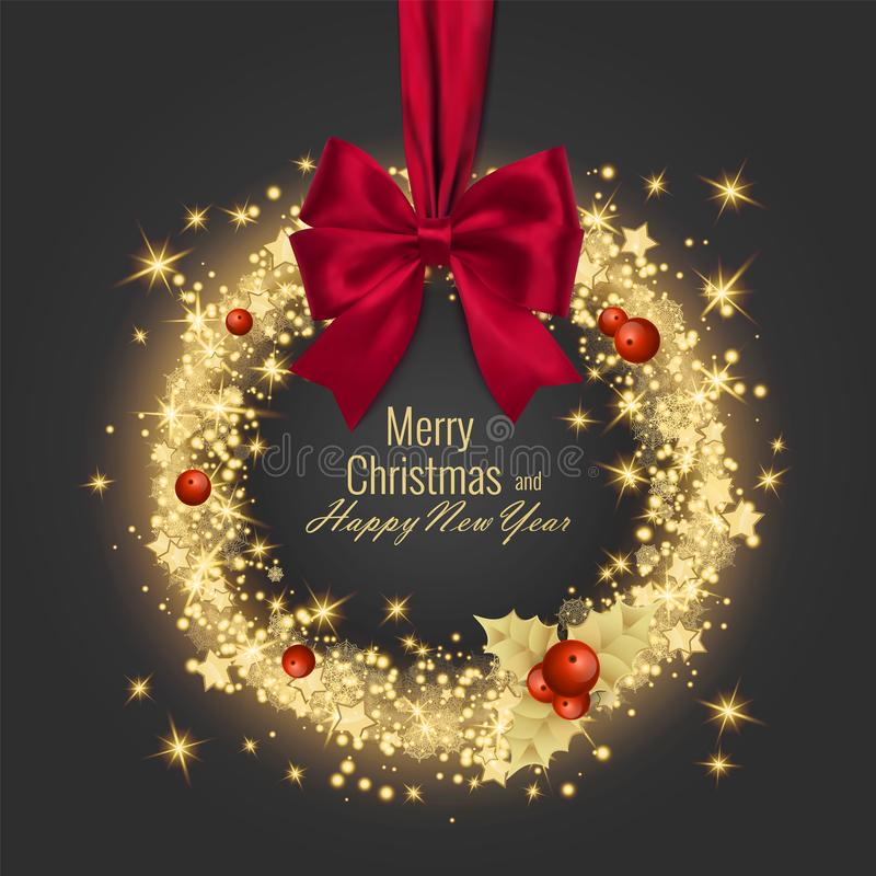 Merry Christmas And Happy New Year.Merry Christmas Happy New Year Greeting Card Vector